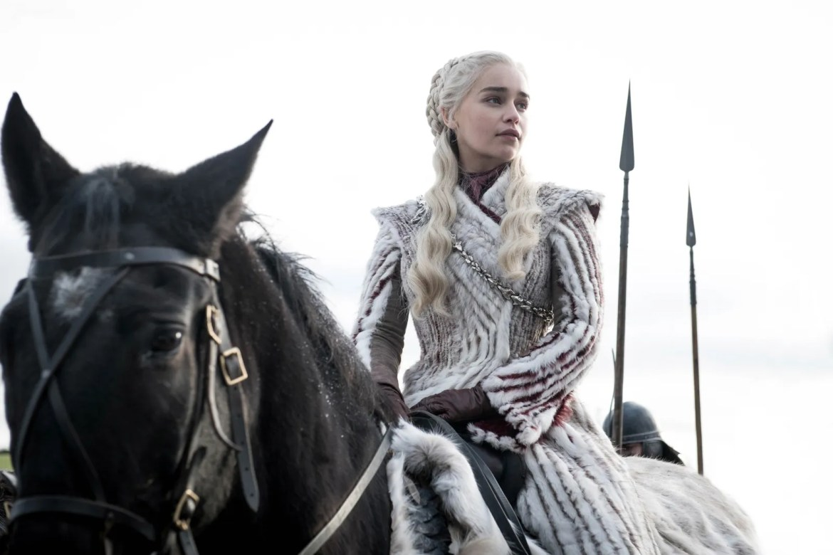 Daenerys Targaryen wearing her white fur coat on Game of Thrones
