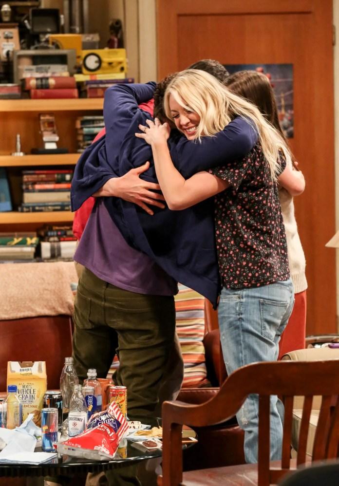 Penny and the gang share a hug