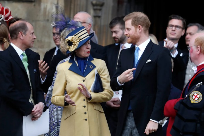 Prince Harry Duke of Sussex and Princess Anne Princess Royal leave after the wedding of Lady Gabriella Windsor and...