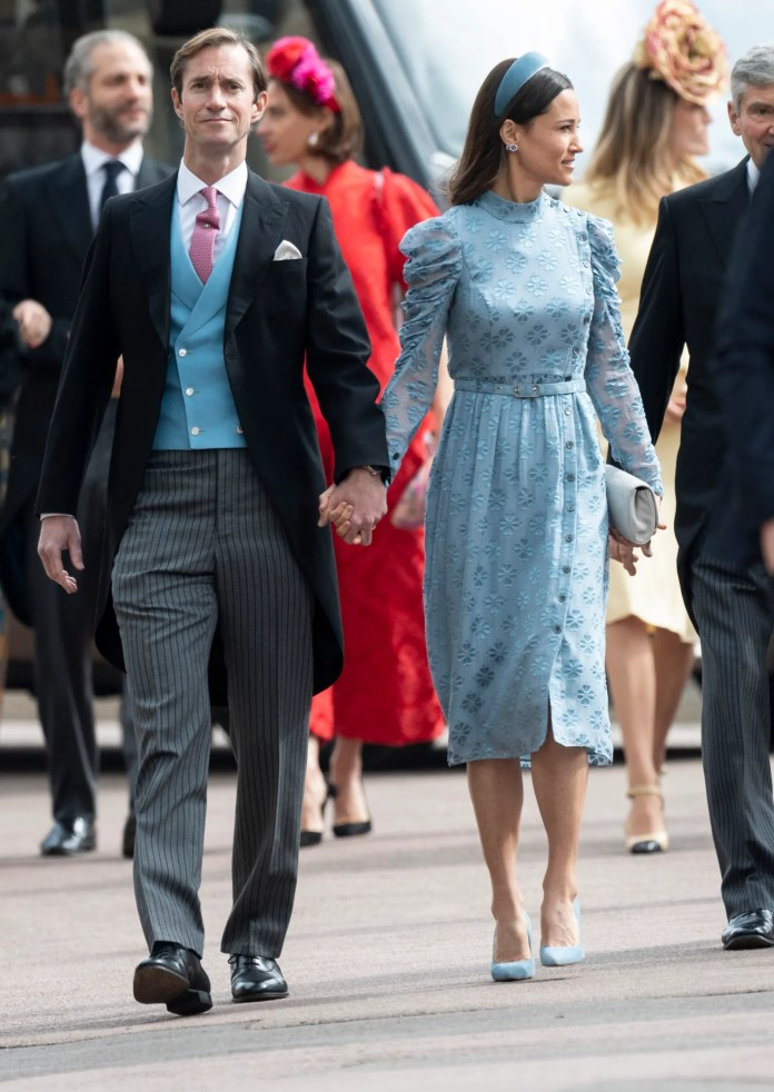 Pippa Matthews and James Matthews attend the wedding of Lady Gabriella Windsor and Mr Thomas Kingston at St George's...