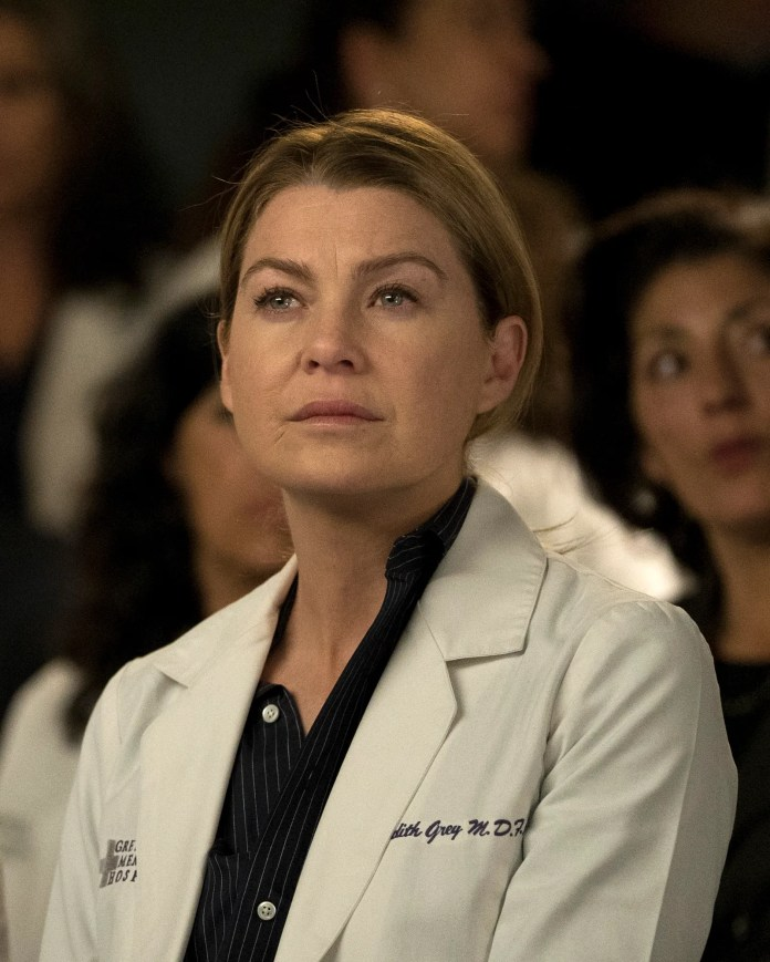 Ellen Pompeo on an episode of Grey's Anatomy