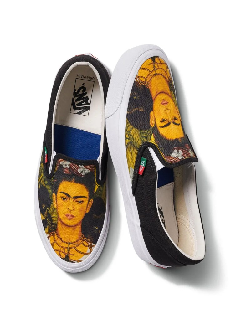 slip on sneakers with a Frida Kahlo self portrait