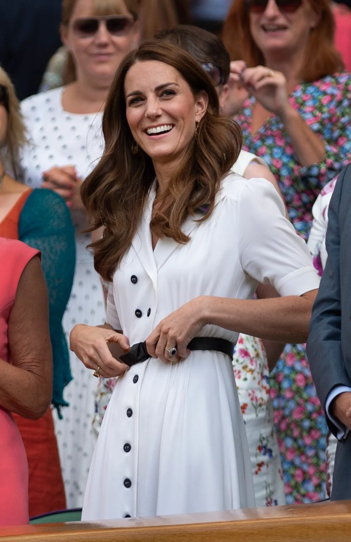 Catherine Duchess of Cambridge watches the action on Centre Court form the Royal Box during Day Two of The Championships...