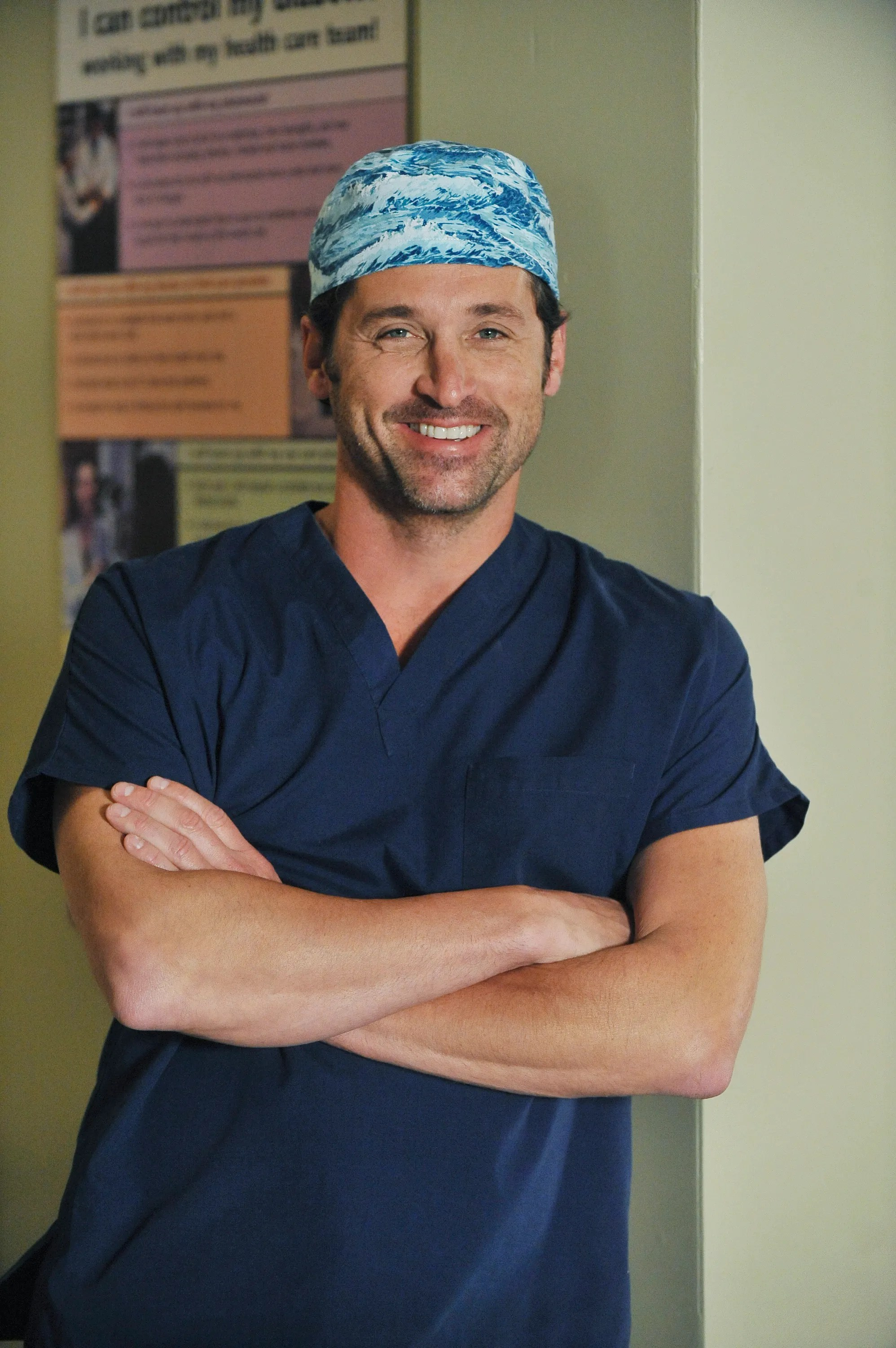 Derek Shepherd Scrub Cap : derek, shepherd, scrub, Patrick, Dempsey, Brought, McDreamy, Grey's, Anatomy, Glamour