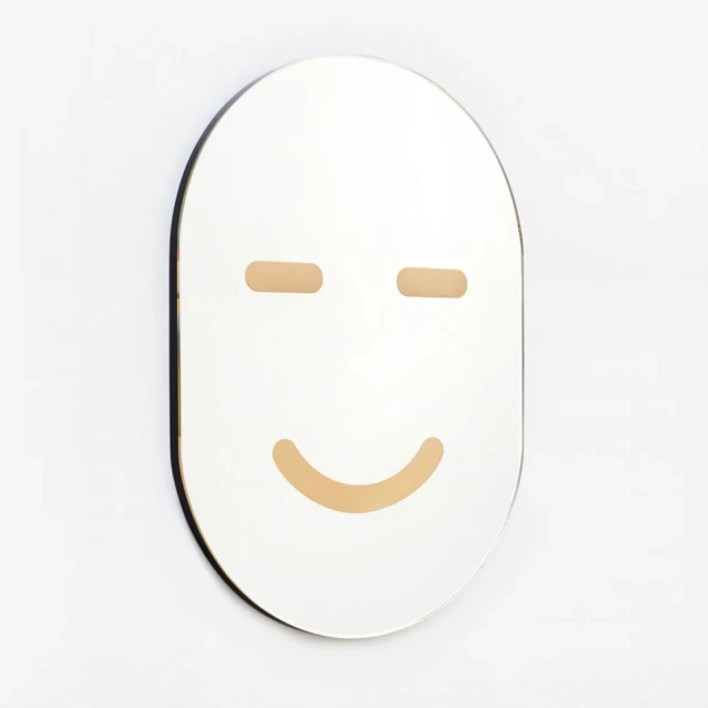 mirror with happy face