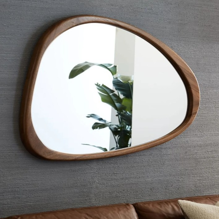 wood-framed asymetrical mirror