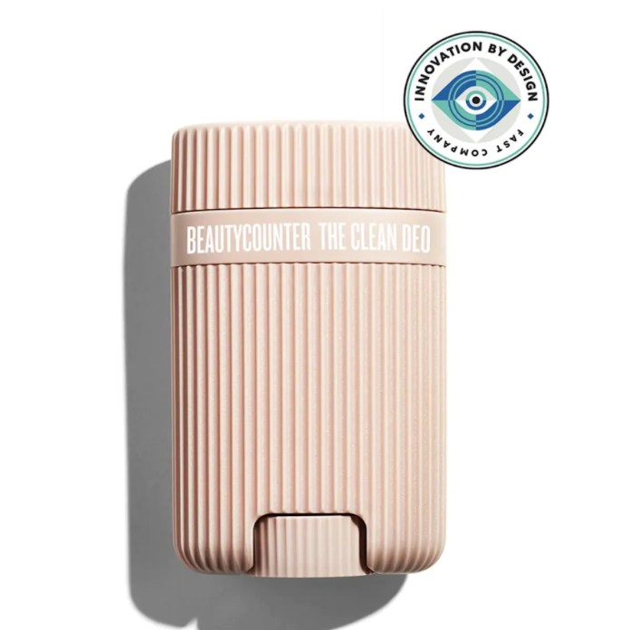 Beautycounter deodorant in pale tan case