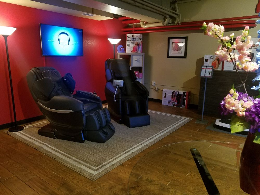 elite massage chair rustic metal and wood dining chairs evergreen showroom office photo glassdoor photos
