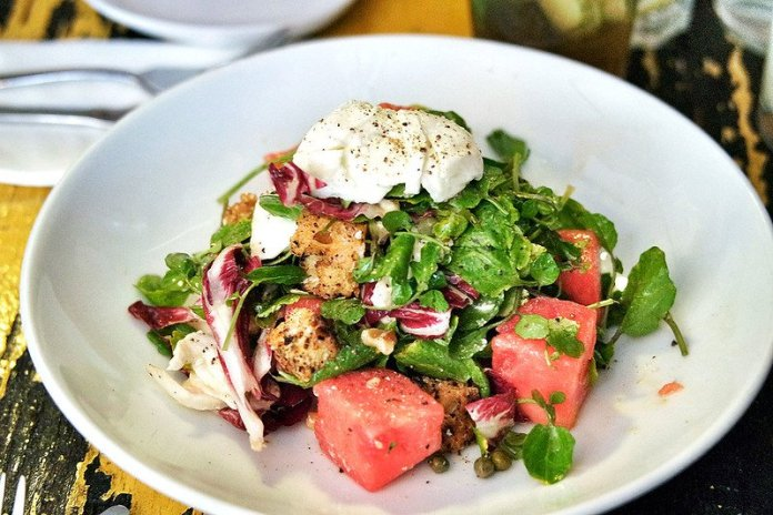 Mint and watermelon salad.