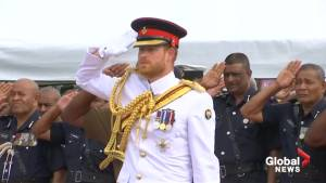 Prince Harry lays wreath at war memorial in Fiji