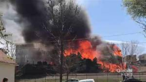 Hundreds evacuated and crews still working on massive fire in downtown Brandon, Manitoba