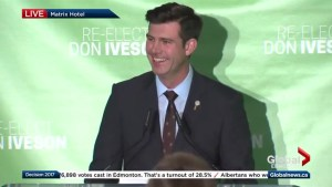 Don Iveson delivers speech after being re-elected as Edmonton's mayor