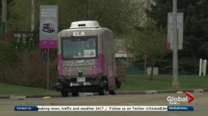 Canada's 1st driverless vehicle runs alongside traffic