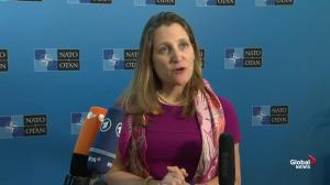 Freeland outlines 'absurdity' of steel tariffs on sidelines of NATO meeting in D.C.