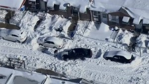 Aftermath aerial video of blizzard hitting Philadelphia