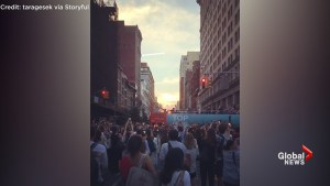 Crowds boo tour bus that blocks view of 'Manhattanhenge'