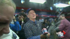 Bill Murray celebrates Cubs' World Series win by showering reporters with champagne