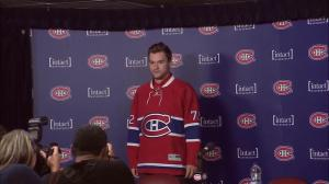 Jonathan Drouin puts on Habs jersey for first time