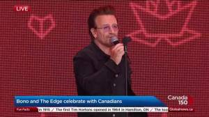 Bono and The Edge celebrate Canada 150 in Ottawa (02:09)