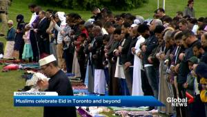 People gather for Eid celebrations at Toronto's Woodbine Park