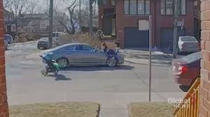 Security video shows car nearly hitting woman with stroller in midtown