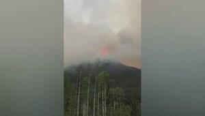 Wildfire burning near Mount Robson Park