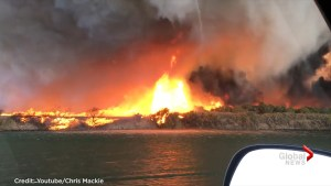Giant firenado turns into water spout along Colorado River in California