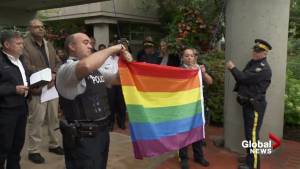 Surrey RCMP raise rainbow flag in support of pride month