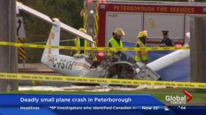 Pilot dead after small plane crashes on street in Peterborough