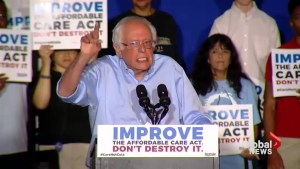 Bernie Sanders calls on President Trump to uphold Obamacare during massive rally