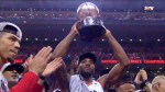Raptors hoist Eastern Conference championship trophy after defeated Bucks in 6 games