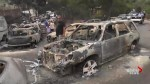 Row upon row of burnt-out cars in aftermath of devastating Greece fire