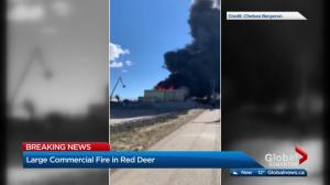 Large industrial fire in Red Deer prompts nearby home evacuations