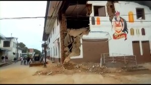 Strong earthquake leaves some homes damaged with holes in Peru