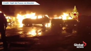Hundreds of cars catch fire and explode in Italy as a result of sea water