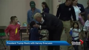 President Trump travels to Houston, meets with flood victims, first responders