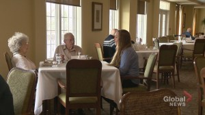 Students and seniors living together in Calgary retirement home