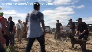 Native American protesters drive away pipeline security in North Dakota