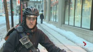 Montreal bike couriers protest stormy work conditions
