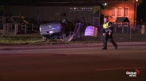 Pickup truck destroyed in Jasper Avenue collision