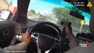 Las Vegas Police release video of officers returning gunfire at suspects during high speed pursuit