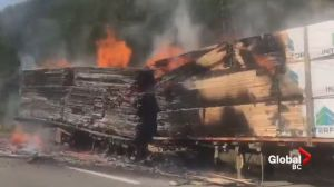 Semi-truck catches fire on Coquihalla Highway