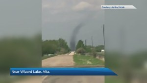Possible landspout tornado spotted in central Alberta