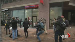 Trump inauguration: violent protests break out in Washington