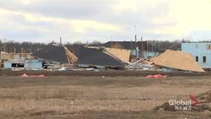 Homes under construction in Niagara Falls, Ontario collapse from strong winds
