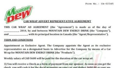 Scam targeting job seekers uses Mountain Dew logo
