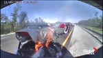 Florida Highway Patrol officer pulls man from burning vehicle, moments after it slammed into his SUV