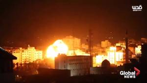 Amateur video captures close-up look as Israeli airstrike pounds Gaza City