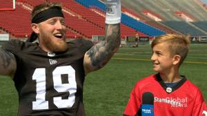 Junior reporter Matthew interviews Stamps QB Bo Levi Mitchell