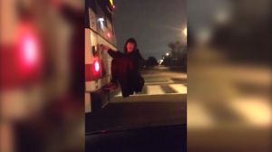 Man seen hanging onto back of TTC bus in video
